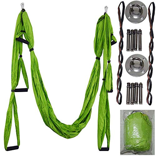 ZOROSS Aerial Yoga Swing Yoga Hammock Kit for Antigravity Exercise with Adjustable Handles Extension Straps (Green)