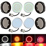1157 LED Turn Signal Light for Motorcycle XTAUTO 2 Inches Bullet Style Front Rear SMD LED Light Bulb with Smoke Lens Cover Kit Compatible for Harley Touring Street Glide Road King Electra Glide 4-pack