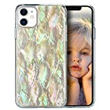 ZHIKE iPhone 11 Pro Max Case, Bling Shell Pearl Design, Colorful Floral Back Case for Girls,Glitter Glossy Case with Clear Shockproof TPU Bumper Case for Apple iPhone 11 Pro Max(White)