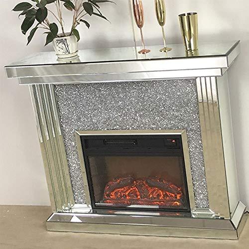 TONINI Spiegel Mantel Freistehende elektrische Kamin Heizung Ecke Feuerfeld W / 3D Realistische Flammeneffekt gespiegelte Farbe Ändern elektrischer Kamin mit Fernbedienung