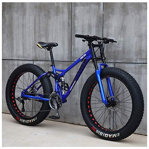 AMITD Mountainbike MTB, 26 Zoll Fette Reifen Fahrrad, Fahrrad mit Scheibenbremsen, Rahmen aus Kohlenstoffstahl, MTB Fahrrad für Herren und Damen,27 Speed,Blue Spoke