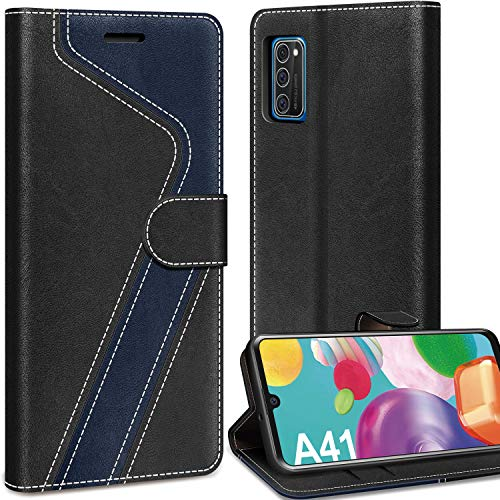 AROYI Lederhülle Samsung Galaxy A41 Hülle, Samsung Galaxy A41 Wallet Handyhülle PU Leder Tasche Case Kartensteckplätzen Schutzhülle Klapphülle Flip Case für Samsung Galaxy A41 Handy Hüllen, Schwarz