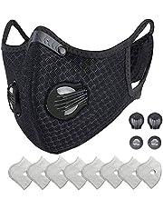HONYAO Herbruikbaar stofmasker met oorlus, sportief beschermend masker met actief koolfilter en kleppen, voor motorfiets fietsen hardlopen buitenactiviteiten