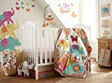 Levtex Baby - Zahara Crib Bed Set - Baby Nursery Set - Orange, Teal, Yellow, Red, Fuchsia - Boho Elephant - 5 Piece Set Includes Quilt, Fitted Sheet, Diaper Stacker, Wall Decal & Skirt/Dust Ruffle