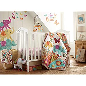 Levtex Baby – Zahara Crib Bed Set – Baby Nursery Set – Orange, Teal, Yellow, Red, Fuchsia – Boho Elephant – 5 Piece Set Includes Quilt, Fitted Sheet, Diaper Stacker, Wall Decal & Skirt/Dust Ruffle