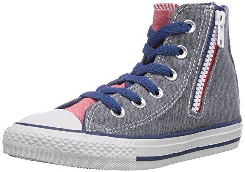 Converse Unisex-Kinder Chuck Taylor Side Zip Bar & Stars Sneaker, Grau (Gris/Rouge/Bleu), 34 EU