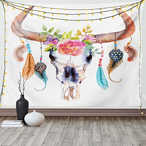 Ambesonne Feather Tapestry, Watercolor Style Bull Skull with Ornaments Vibrant Image, Wide Wall Hanging for Bedroom Living Room Dorm, 60' X 40', White Brown