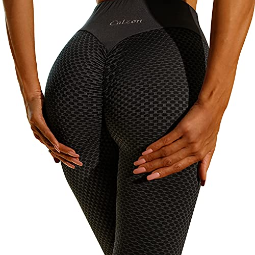 Calzon Women's Yoga Tights,Highly Elastic Waistband Control Top Workout Pants,Body Shaping Scrunch Butt Leggings Black