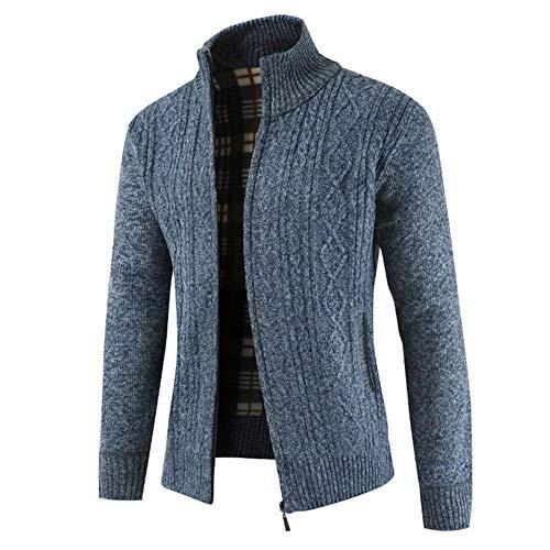 qulvyushangmaobu Herren Strickjacke dicken Pullover voller Reißverschluss Stehkragen warme Pullover Winterjacke Herren Strickjacke dicken Pullover voller Reißverschluss Stehkragen warme Pullover Wolle