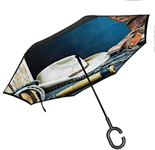 Reverse Folding Umbrella, for UV Protection & Rain - Hands-Free C-Shape Handle, Western | Dallas Cowboys and Lantern on a Bench in Vintage Ranch Nostalgic Folkloric Photograph