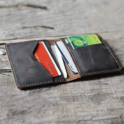 Handmade Distressed Men's Minimalist Leather Wallet Card Holder Wallets for Gifts Dark Brown style1