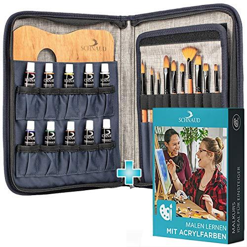 SCHNAUD Acrylfarben-Set mit Online-Kurs - Enthält 5 Std Videomaterial und 50-seitiges Einsteiger E-Book, 10 Acrylfarben + 10 Künstler-Pinsel + Mischpalette aus Holz, Ideal für Einsteiger