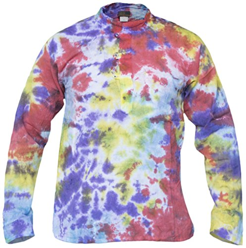 Little Kathmandu - Camisa de estilo hippie, algodón, teñida, estilo casual Marble Tie Dye Medium