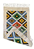 Rug //Kilim //Runner - Handmade - Wool and Cotton - 2'3' X 4'7'- Kitchen Rug - Area Rug - Bedside Rug - Colorful - Blue // Natural // Off-White - Green - Yellow -Black -