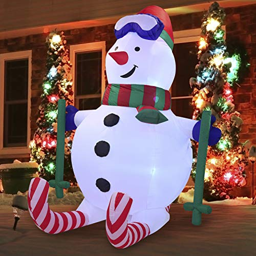 Joiedomi 6 FT Tall SKI Snowman Inflatable with Build-in LEDs Blow Up Inflatables for Xmas Party Indoor, Outdoor, Yard, Garden, Lawn Winter Decor.
