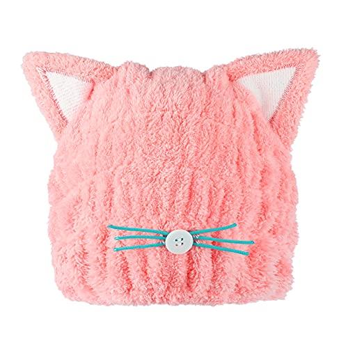 タオルキャップ ドライキャップ ヘアキャップ 吸水タオル ヘアドライタオル 子供 洗濯ネット付き (ピンク)