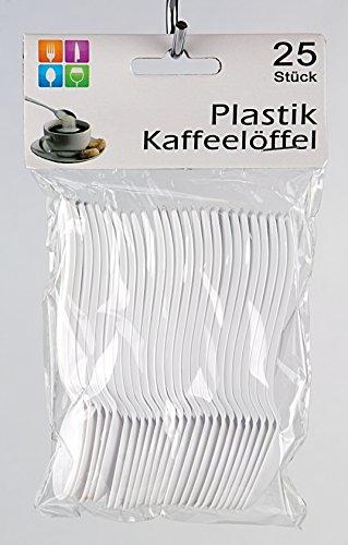 25er Pack Kaffeelöffel Einwegbesteck, weiß, 10 cm, Plastikbesteck