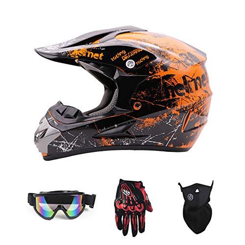 SanQing Casque de Moto ATV Casque de Moto SUV Casque + Lunettes + Gants Moto BMX MX Descente Cross Country VTT Ados Casque Adulte,Orange,L