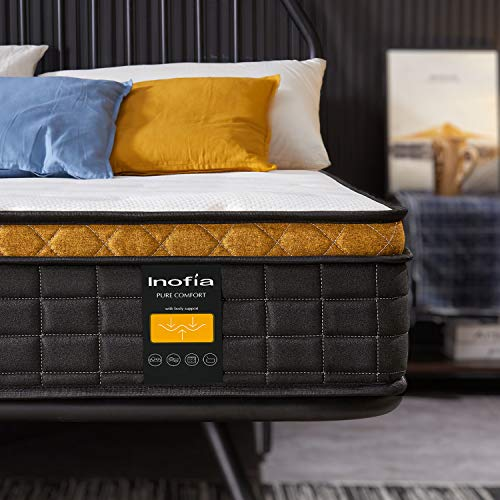 Inofia Sleep 4FT6 Double Mattress,25cm Pocket Sprung Mattress with Breathable Memory Foam and 9-Zone,SMAX Collection,Love your bedtime,100 Nights Home Trial