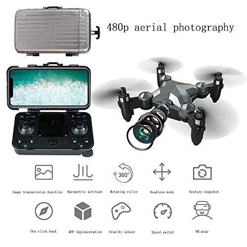 YZT QUEEN Drohne Gepäck Mini Drohne klappbare Luftaufnahme Fernbedienung Flugzeug vierachsigen Geschwindigkeitsschalter, Headless-Modus, eine Taste zurück,Schwarz,Aerial Photography