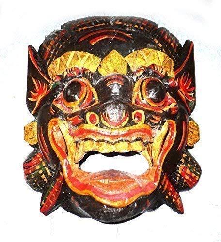 Double Duck Dunkelbraun/Schwarz Holz Maske Barong, Handgeschnitzte in Bali Wand Maske