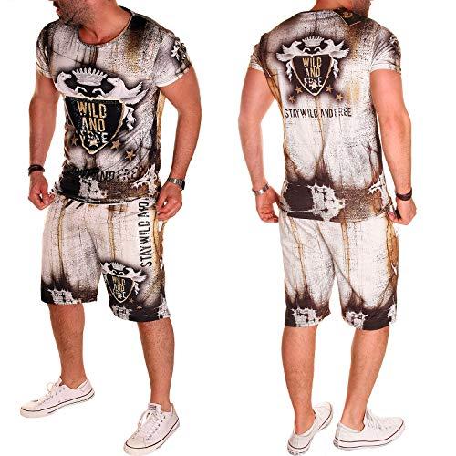 Herren Jogginganzug Sportanzug Trainingsanzug T-Shirt + Short 2er Set Sport Training Fitness Sommeranzug (S, Modell So.A.02 (R.E))