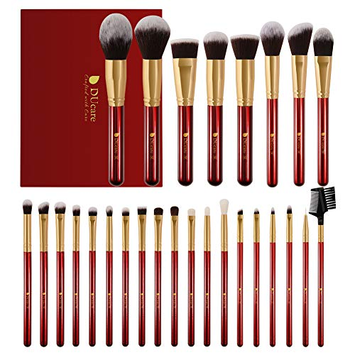 DUcare Professionelles Makeup Pinsel Set 27pcs Schminkpinsel Kosmetikpinsel Makeup Brushes mit Geschenkbox - Rot