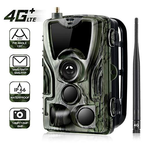 KINJOHI 4G Trail JagdKamera, Wildkamera Tier-Hunting Überwachungskameras 16MP 1080P mit 120 ° Weitwinkel 940nm Infared LEDs 0.3s Trigger Time Wild Camera IP66 Wasserdicht für Outdoor-Natur, Garten