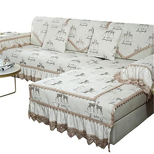 Protector de Fundas de sofá en Forma de L de Falda de Chenilla de Estilo Europeo Protector de Muebles de cojín de sofá seccional Personalizado,Beige,90 * 70 + 22cm