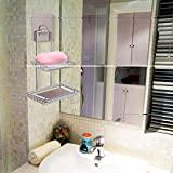 Stainless Steel Wall Mounted Sticky Shower Bathroom Kitchen Rack Shelf Holder Dual Layer for Soap Bath Towel Cleaning Supplies Kitchen Small Gadgets Silver