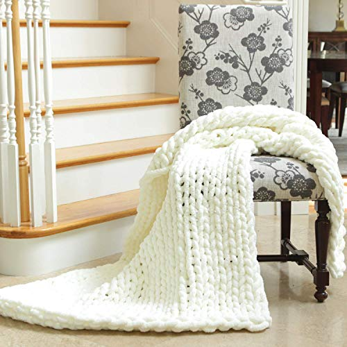 Eon Luxe Solutions Chunky Knit Throw - Chunky Blanket - Giant Yarn Softest Chenille - Does not shed - 40 inch x 50 inch Couch Throw Blanket (Ivory White)