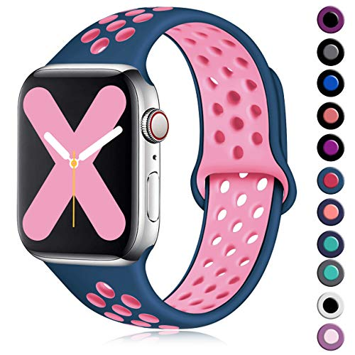 Henva Compatible with Apple Watch Band 40mm 38mm, Replacement Breathable Sport Wristbands with Air Holes for iWatch Series 5, Series 4, Series 3, Series 2, Series 1, Midnight Blue/Cherry Pink, S/M