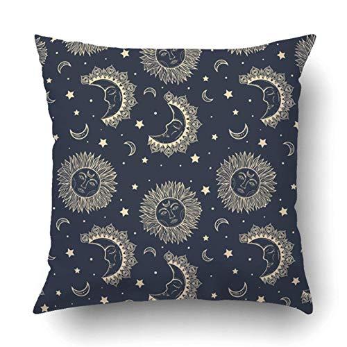 dpcm Funda de almohada decorativa para dormitorio, sofá, decoración del hogar, luna y estrellas, estilo vintage, gitano e hipster, astrología, cuadrado bohemio
