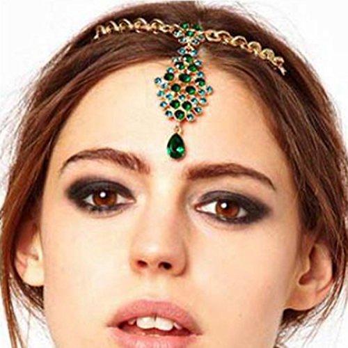 A&c Boho Rhinestone Headchain Green Crystal Pendant Headpiece Vintage Headband Accessories Jewelry for Women and Girls
