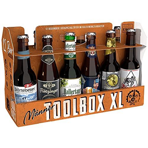 KALEA Toolbox XL, Werkzeugkasten bestückt mit 12 x 0,33l deutschen Bierspezialitäten, Geschenk zum Geburtstag