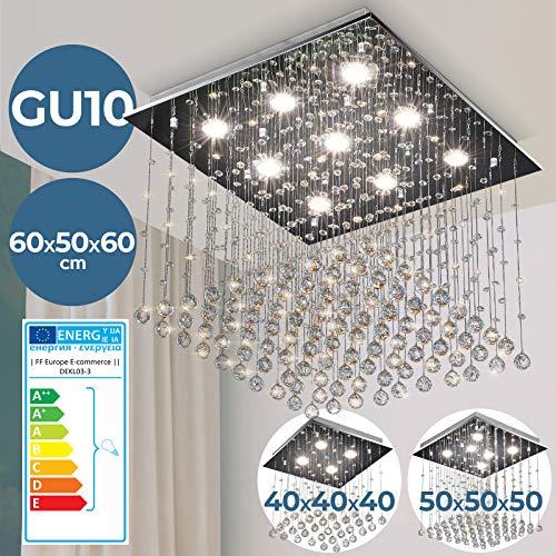 Kristall Deckenleuchte - EEK: A++ bis E, 60x50x60 cmcm, 9-flammig, für GU10, Modern, Silber - Kronleuchter, Deckenlampe, Deckenstrahler, Kristallkronleuchter - für Wohnzimmer, Esszimmer, Schlafzimmer
