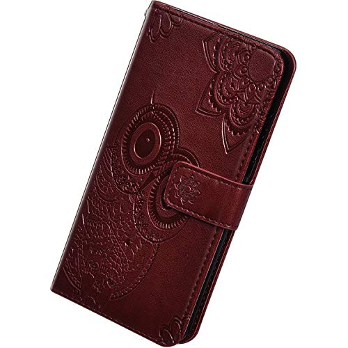 Herbests Kompatibel mit Samsung Galaxy S20 Hülle Leder Handyhülle Eule Mandala Blumen Brieftasche Schutzhülle Ledertasche Lederhülle Wallet Flip Case Klapphülle Magnet Kartenfach,Braun