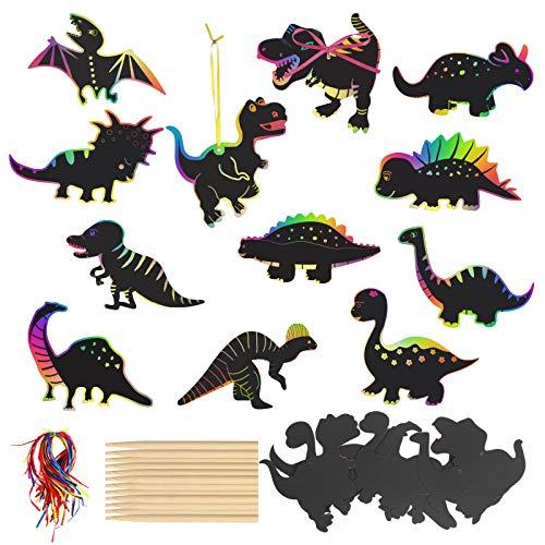 HAKOTOM 48er Dinosaurier Kratzbilder Dino Kratzbild Kinder Dinosaurier Kratzpapier Bastelset Rubbelkarten DIY Rubbel Etiketten mit Holzstiften Bunten Seilen Dinosaurier Party Kindergeburtstag Party