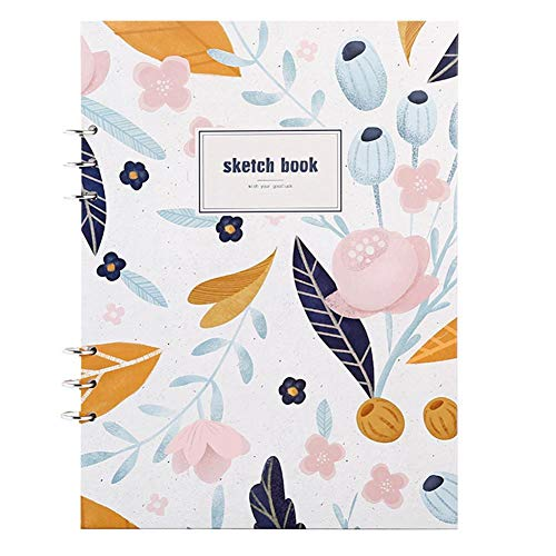 BNMM Sketch Book, 6-Hole Loose Leaf A4 Drawing Notebook for Sketching, Pen Drawing Color Lead Painting Children's Watercolor, 100 Pages
