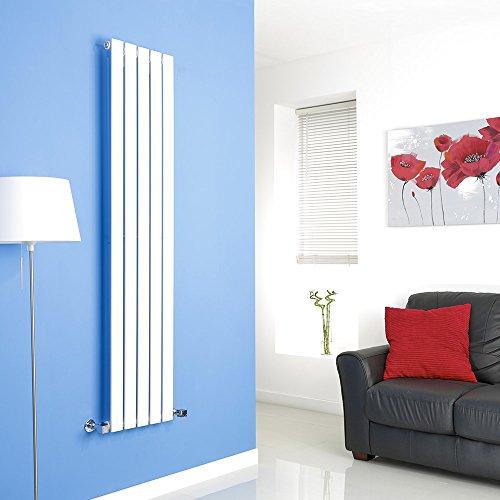 Hudson Reed Radiador de Diseño Moderno Vertical Delta - Radiador con Acabado Blanco - Paneles Planos - 1600 x 350mm - 733W - Calefacción
