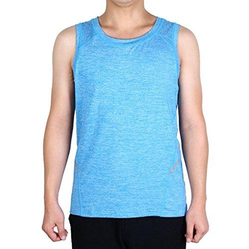 Sourcingmap T-Shirt Homme Adulte Vite Dry sans Manche Gilet Vêtement Sport Exercice Top Bleu S