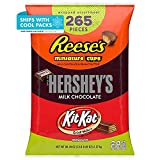 Contains one (1) 80.39-ounce, 265-piece variety bag of REESE'S, HERSHEY'S and KIT KAT Assorted Milk Chocolate Miniatures Candy including REESE'S Miniatures Milk Chocolate Peanut Butter Cups, HERSHEY'S Miniatures Milk Chocolate Bars and KIT KAT Miniat...