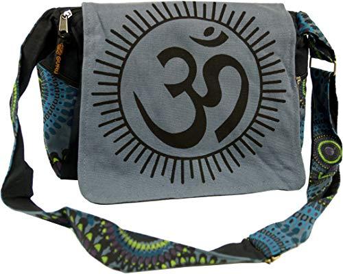 GURU SHOP Schultertasche, Hippie Tasche, Goa Tasche Om - Grau, Herren/Damen, Baumwolle, Size:One Size, 23x28x12 cm, Alternative Umhängetasche, Handtasche aus Stoff