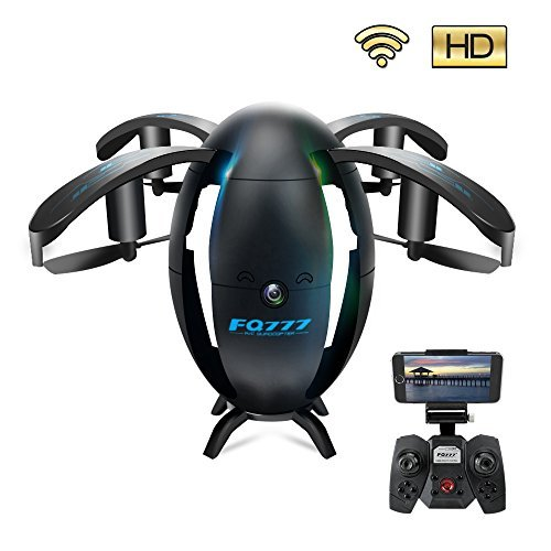 ScharkSpark Drone with Camera and Live Video, UAV, 6-Axis Gyro 4 Channels Hobby RC Quadcopter Mini Drone with Headless Mode for Beginner, Easy to Control, Flying Egg, Black by