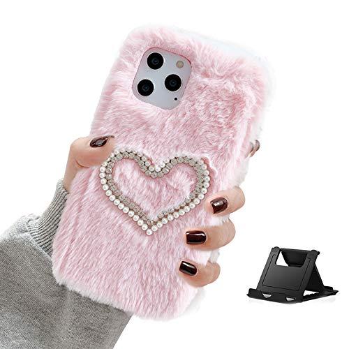 Shinyzone Plüsch Hülle Kompatibel mit Samsung Galaxy A12,Süße Faux Pelzig Kaninchen Winter Weiche Warme Pelz Glitzer 3D Diamant Kristall Perle Stoßfest Schutzhülle,Rosa