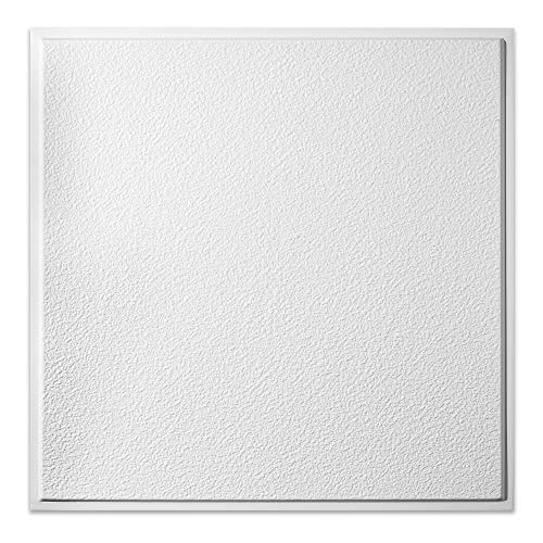 Genesis White Stucco Pro Revealed Edge Ceiling Tiles - Easy Drop-in Installation – Waterproof, Washable and Fire-Rated - High-Grade PVC to Prevent Breakage (12' x 12' Sample)