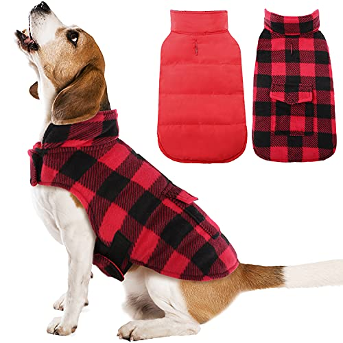 Kuoser British Style Plaid Dog Winter Coat, Windproof Cozy Cold Weather Dog Coat Dog Apparel Dog Jacket Dog Vest for Small Medium and Large Dogs with Pocket & Leash Hook Red XL
