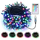 BrizLabs Color Changing Christmas Lights, 33ft 100 LED Multicolor Christmas Lights with Remote, USB Powered Xmas Tree Light with Timer, RGB Twinkle Fairy Light for Christmas Tree Fireplace Party Decor