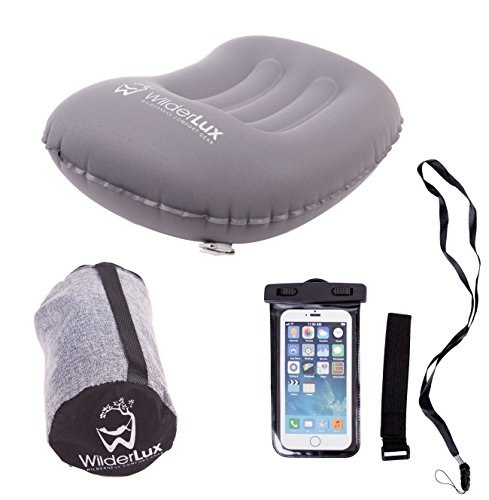 Inflatable Camping Pillow for Travel, Neck and Lumbar Support On-The-Go with Free Waterproof Clear Phone Case