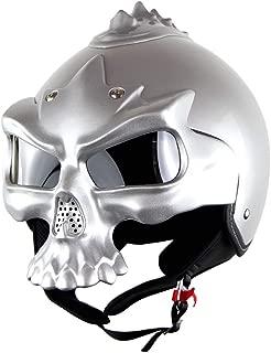 Adult Motorcycle Full face Jet Harley Helmet Modular DOT Certification Double Lens Retro Personality Skull Street Bike Racing Half Half-Covered Helmet,Sliver,XL59~60CM